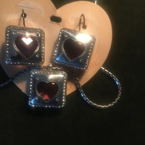 Brighton silver and pink crystal heart set
